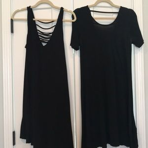 Two casual dresses, black, swing style
